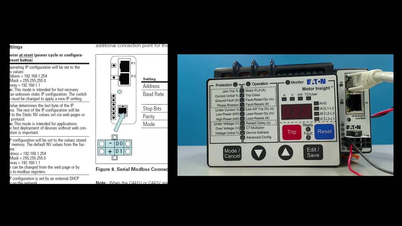 C441 ethernet tutorial eaton youtube for Motor ground fault protection