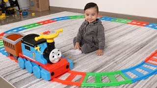 Thomas The Tank Engine Giant Ride On Track Toys Unboxing Fun Kids Playtime With Ckn Toys