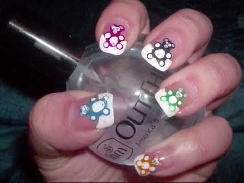 Teddy/Gummy Bear Nail Art (White French Tip)