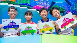 Kids Go to School Learn Colors with Toys New Car Power! Color Song Nursery Rhymes