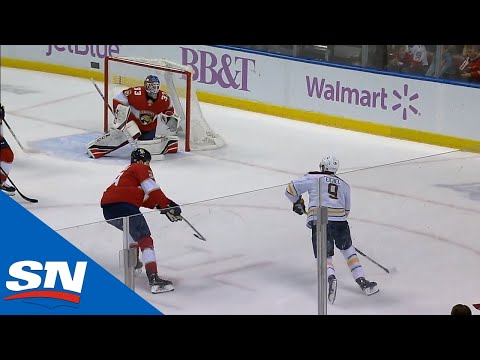 Jack Eichel Weaves His Way Through The Panthers Defence And Finds Jeff Skinner For An Easy Tap-In