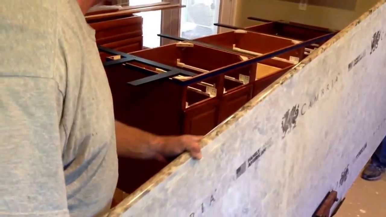 how to install quartz countertop install kitchen island Cambria Bradshaw Quartz Countertop Kitchen Island Install You