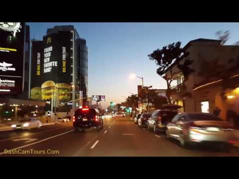 Los Angeles Driving Tour:  West Hollywood on Saturday Night April 1,  2017