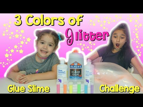 3 colors of Glitter Clear Glue Slime Challenge