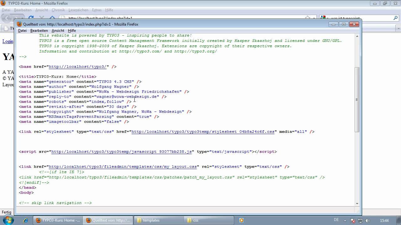 25-TYPO3-Typoscript-PAGE-Template und YAML-CSS einbinden.mp4 - YouTube