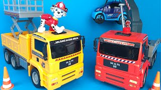 Fastlane Action wheels Construction Truck and Crane Truck - Mighty Machines in action and Paw Patrol
