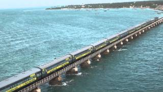 Train  on Pamban bridge 4