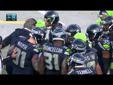 Russell Wilson Tries to Join Onside Kick Huddle, Carroll Pulls Him Out | Seahawks vs. Panthers | NFL