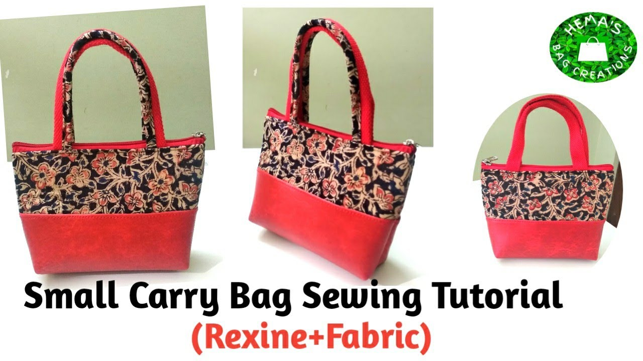 DIY Small Handbag Cutting&Stitching/How To Make Mini Handbag With Rexine And Fabric #handbag #rexine