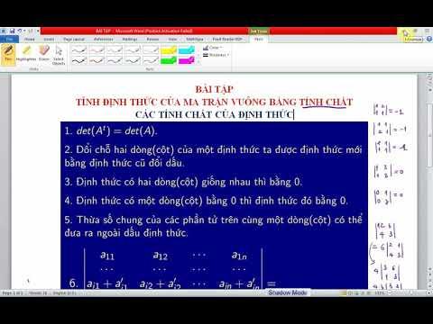 Bài tập Tính Định thức ma trận vuông bằng cách dùng các tính chất của định thức   Phần 3