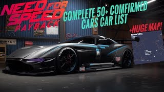 Need For Speed Payback : Complete Car List | 50+ Cars | +MAP LEAK [SO FAR]
