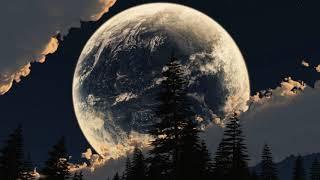 Картинка природа. Луна, коллаж, небо, Земля, звезды, облака.