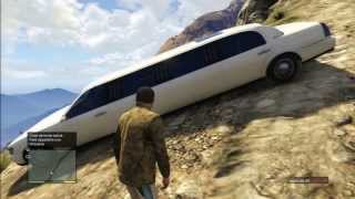 GTA V BIG JUMP MUNTAIN LIMO STRETCH STUNT CRASH ACCIDENT