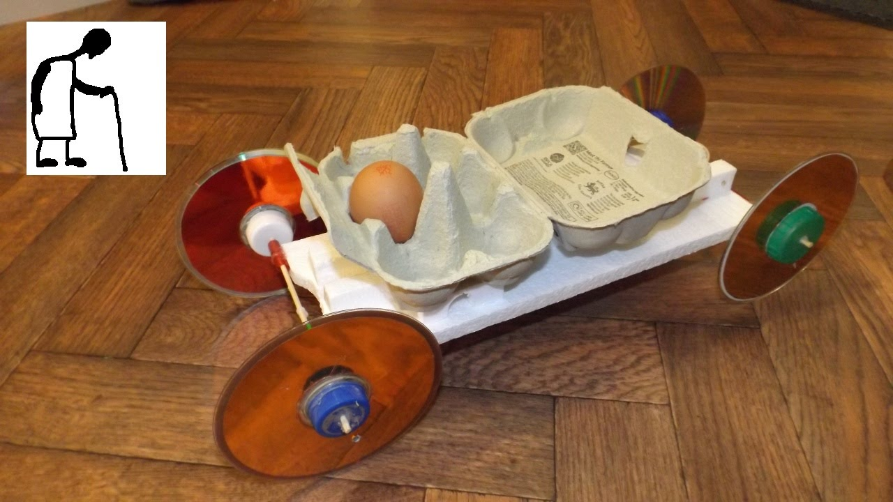 Rubber Band Powered Car Carrying An Egg Youtube