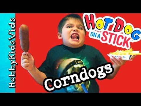 Corndog Food Review! Hot Dog on a Stick, Fries + Limeade n' Shrimp Taco Nachos HobbyKidsVids