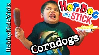 Corndog Food Review! Hot Dog On A Stick, Fries + Limeade N' Shrimp Taco Nachos Hobbykidsvids