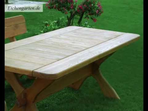 gartentisch aus holz youtube. Black Bedroom Furniture Sets. Home Design Ideas