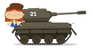 Ein tank cartoon. Baufahrzeuge mit Dr. McWheelie. Eine Familie cartoon.