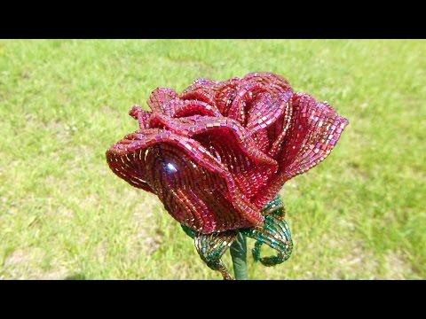 Как сплести бокаловидную розу из бисера