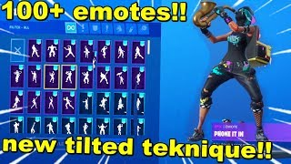 *NEW* TILTED TEKNIQUE SKIN showcase with 100+ emotes (fortnite season 10 skin)