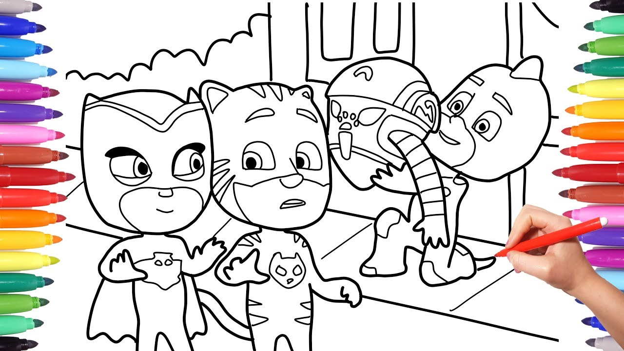 Pj Masks Drawing And Coloring Page For Kids Best Coloring Pages Youtube