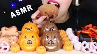 ASMR PUMPKIN CHOCOLATE CANDY, MOCHI & UNICORN PRETZELS (EATING SOUNDS) No Talking 먹방