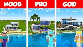 Minecraft Noob Vs Pro Vs God Modern Beach House Build Challenge In Minecraft  Animation
