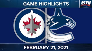 NHL Game Highlights   Jets vs. Canucks - Feb. 21, 2021