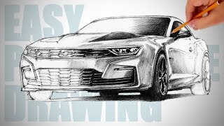 How to draw a car ( Chevrolet Camaro ) - Easy Perspective Drawing 32