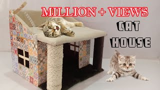 how to make amazing kitten   cat pet house from cardboard /Cat House / Kitten House