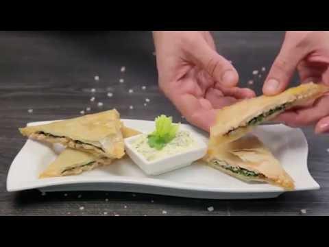 Конвертики из теста фило с лососем