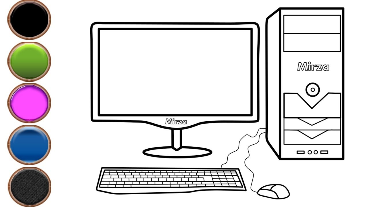 How To Draw And Color Desktop Computer Coloring Pages For