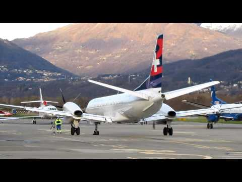 Darwin Airline Saab 2000 Startup And Taxiing at Lugano Airport (LUG / LSZA), Ticino - Switzerland