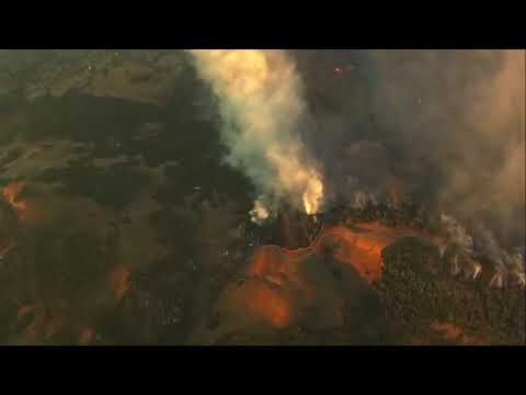Wildfire burning in Northern California wine country