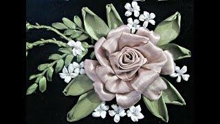 МК Роза, вышивка лентами. Rose embroidery ribbons.