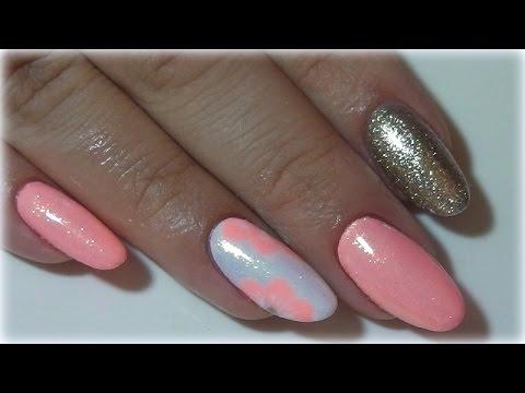 Gelnagel Auffullen Sommer Nageldesign Neonpastel Mermaid Glitter