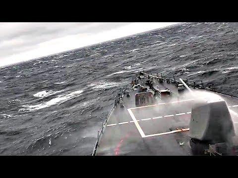 Navy Destroyer USS John S. McCain Pierce Through Rough Seas – View From Ship's Bridge (2014)