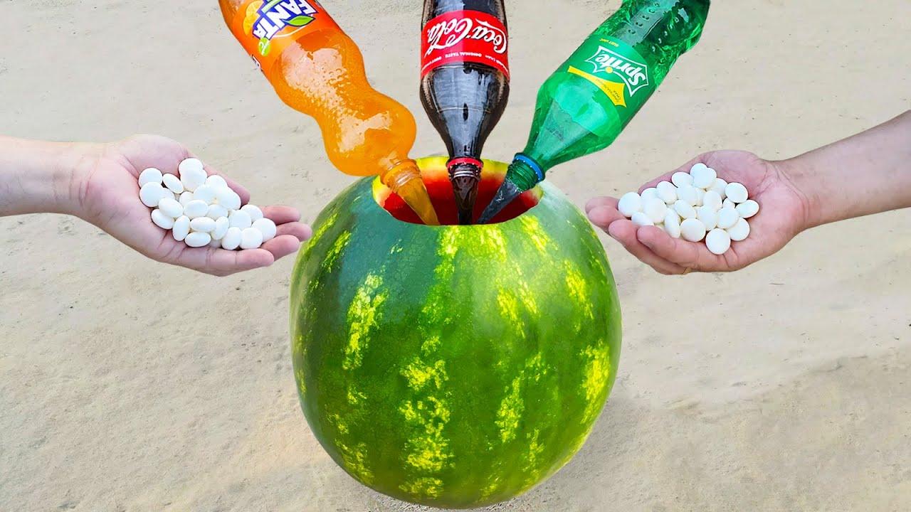Experiment ! Sprite, Coca Cola, Fanta and Mentos in Watermelon
