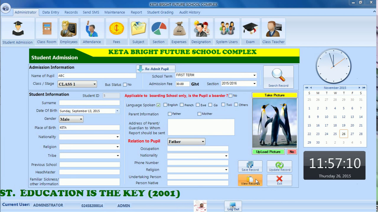 free school management software with source code