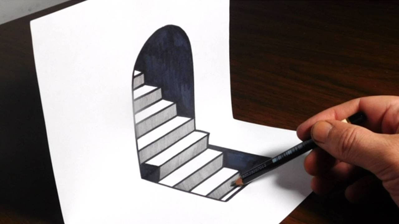 How to draw 3d steps easy trick art youtube for 3d sketch online