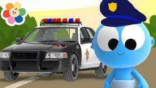 New Coloring Pages | Police Car with GooGoo Baby & Color Crew | Colors for Kids with Magical Crayons