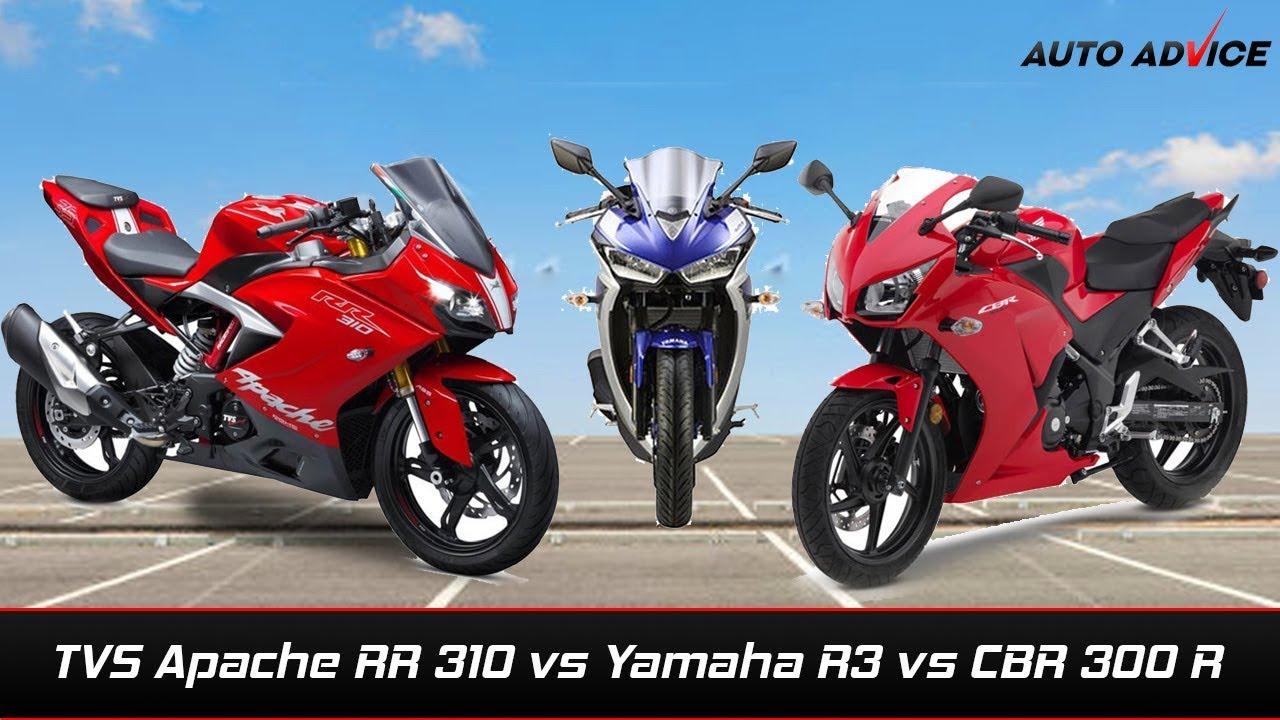 Tvs Apache Rr 310 Vs Yamaha Yzf R3 Vs Honda Cbr 300r Comparison