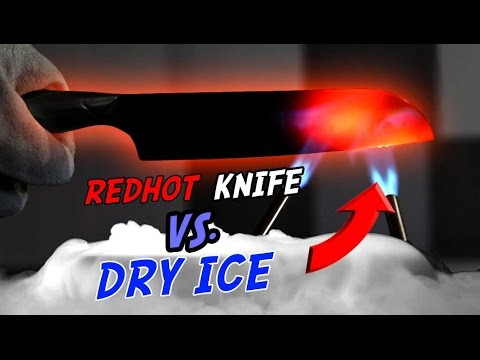 Thumbnail: EXPERIMENT Glowing 1000 degree KNIFE AND SAMURAI SWORD VS DRY ICE 🔥❄️