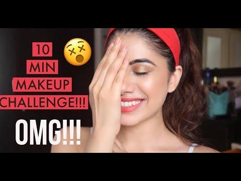 10 MINUTE MAKEUP CHALLENGE!!! WTF! LOL | Malvika Sitlani