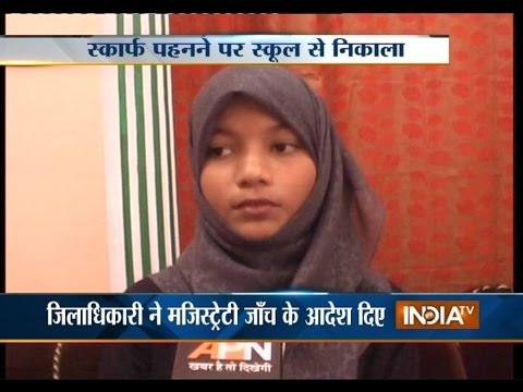 Muslim Girl Banned from Wearing Scarf in Lucknow School - India TV