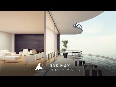 3D Max Interior Modern Design Restaurant Vray+Photoshop 2016 / iç Restoran modellme
