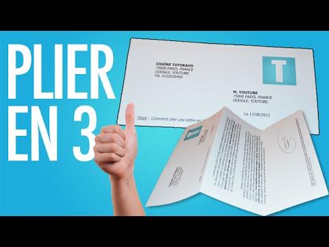 Plier une feuille en 3 pour ins rer dans une enveloppe youtube - Plier une feuille en 3 ...