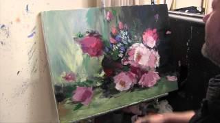 Букет цветов, научиться писать цветы, уроки масляной живописи, художник Сахаров
