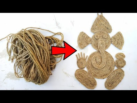 Ganesh making at home from jute rope। diy ganesh wall hangin।  easy ganesh making from jute.