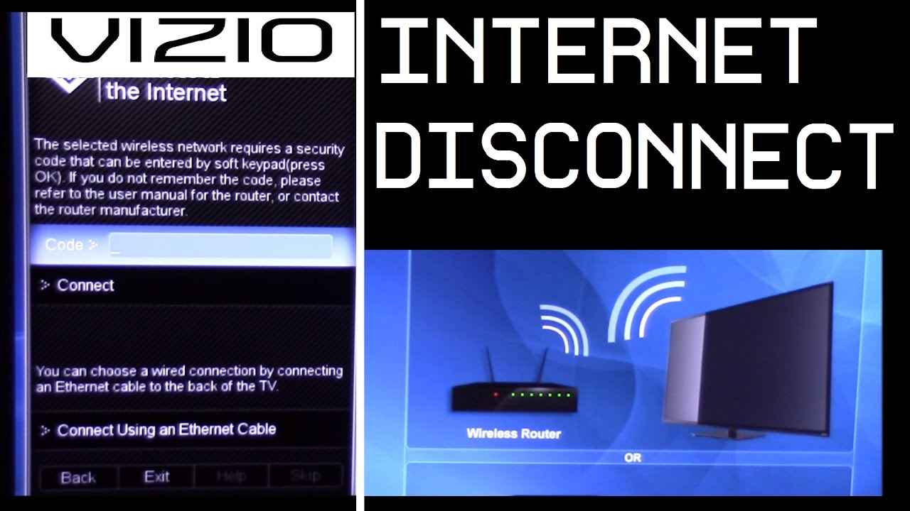 Vizio TV How to disconnect and connect to Internet / WIFI